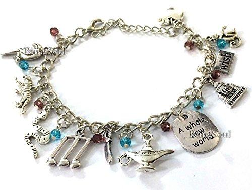 Walt Disney Aladdin Costume Jewelry - Halloween Charm Bracelet (Silver)