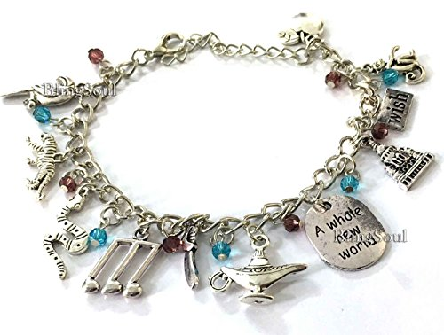 Walt Disney Halloween Costumes (BlingSoul Walt Disney Aladdin Costume Jewelry - Christmas Charm Bracelet (Silver))
