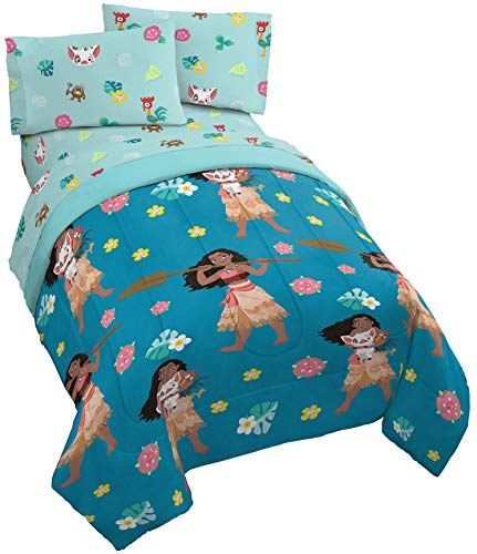 Flower Power Twin Comforter - Jay Franco Disney Moana Flower Power Twin Comforter - Super Soft Kids Reversible Bedding Features Pua & HEI HEI - Fade Resistant Polyester Microfiber Fill (Official Disney Product)