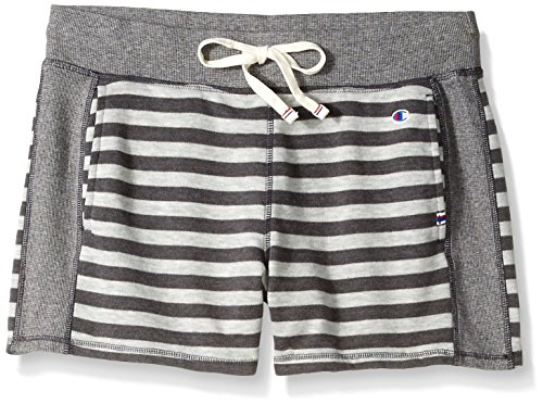 (Champion Women's Heritage French Terry Short, Oxford Grey Heather Stripe, Small)