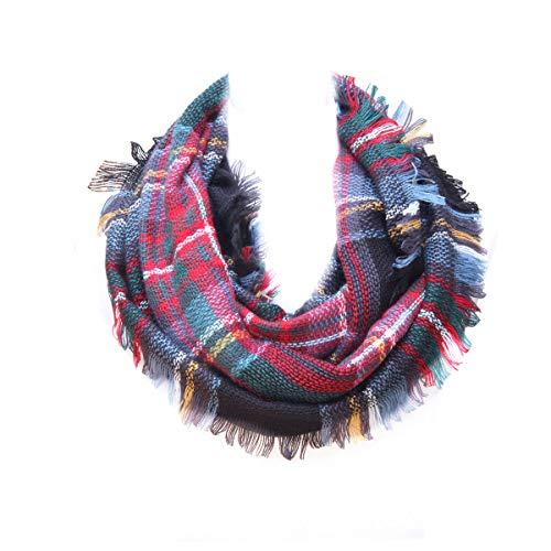 - Lucky Leaf Women Autumn and Winter Check Tartan Scarf Soft Warm Plaid Infinity Muffler (Black Green Plaid)