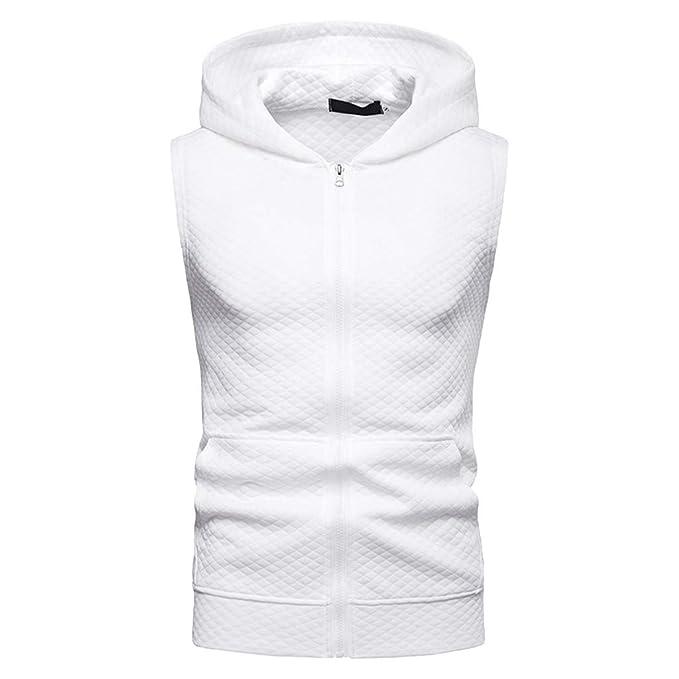 Honestyi Camisetas de Tirantes sin Mangas Color sólido Sudadera con capucha Cremallera Hombre Polos Deportes O