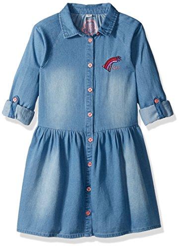 GUESS Little Girls' Denim Button up Dress, Chambray Medium Wash, 6 -