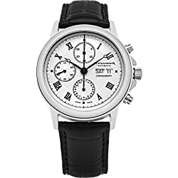 Alexander Statesman Aigai Mens Stainless Steel Day Date Silver Face Black Leather Band Swiss Automatic Chronograph Watch A473-02