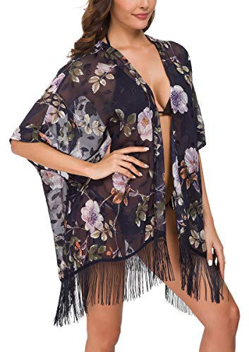 OLRAIN Women's Floral Print Sheer Loose Kimono Cardigan Capes(Royal Blue, Large)