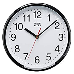 Plumeet Silent Wall Clock, 10 Non Ticking Quartz Black Wall Clocks, Decorative Home Office School Clock