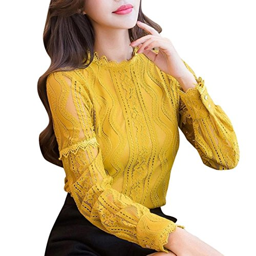 iDWZA Womens Fashion Lace Striped Floral Stand Collar Slim Work T Shirt Tops Blouses (Yellow, (Dragon Striped Beanie)