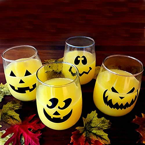 Halloween Jack O'Lantern Stemless Wine Glasses - Set of 4