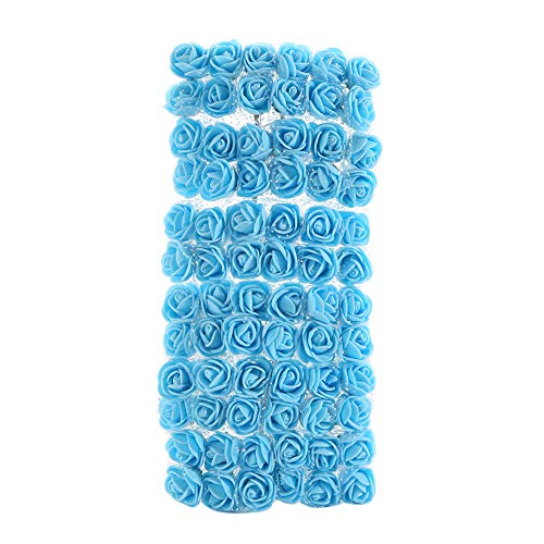 Dds5391 Refined 72Pcs Colorfast Foam Roses Artificial Flower Head Wedding Bride Party Home Decor - Light Blue from dds5391
