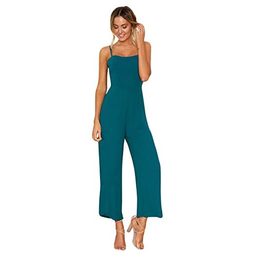 New 2019 Summer Wide Leg Jumpsuit Women Sexy Spaghetti Strap Square Neck Slim Waist Rompers Casual Beach Party Slim Overalls Women's Clothing