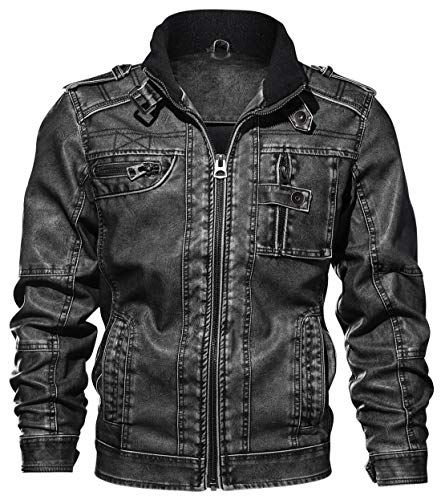 chouyatou Men's Casual Long Sleeve Zip-Up Distressed Faux Leather Moto Jacket (X-Large, Grey) (Moto Jacket Men Leather)