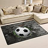Naanle Sport Area Rug 3'x5', Football Soccer Polyester Area Rug Mat for Living Dining Dorm Room Bedroom Home Decorative