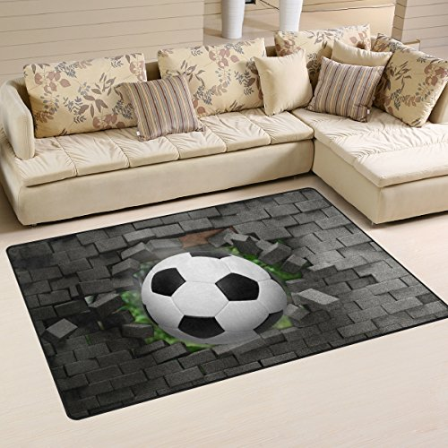 Naanle Sport Area Rug 3'x5', Football Soccer Polyester Area Rug Mat for Living Dining Dorm Room Bedroom Home Decorative by Naanle