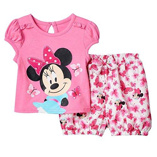 (Disney Cartoon Characters Baby-Girl Short Set (24M, Minnie)