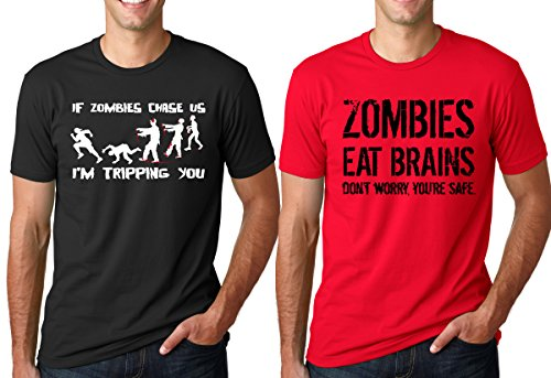 Crazy Dog TShirts - Zombies Eat Brains And Zombie Chasing T Shirt Combo Awesome Horror Tees 2-Pack - Camiseta Divertidas