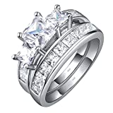 Sterling Silver Three Stone CZ Princess Cut Women's Wedding Engagement Bridal Ring Set Size 5