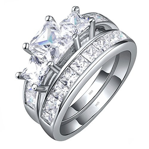 Sterling Silver Three Stone CZ Princess Cut Women's Wedding Engagement Bridal Ring Set Size 7