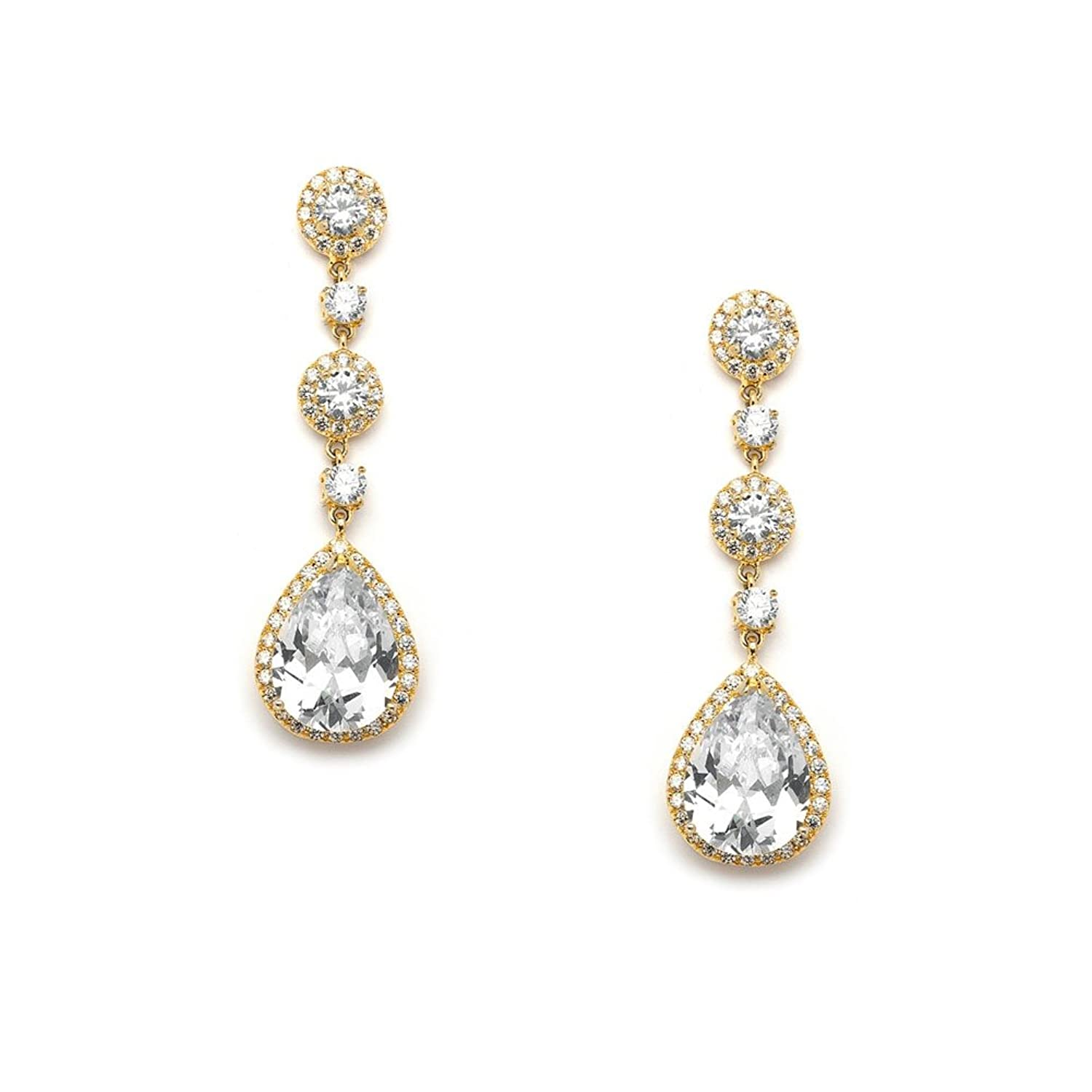 Amazon: Usabride Gold Plated Dangle Earrings Cubic Zirconia Vintage Cz  Bridal Chandelier 1581gold: Jewelry