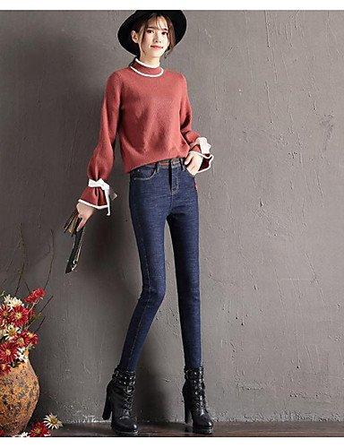 TT&NIUZAIKU Damen Freizeit Mittlere Hüfthöhe Mikro-elastisch Jeans Hose, Baumwolle Winter Frühling/Herbst Solide, Blau, 30