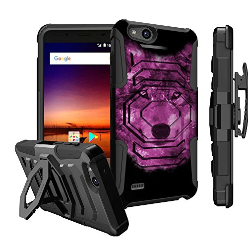 Untouchble Case for ZTE Avid 4 Case, ZTE Blade Vantage, ZTE Tempo X Holster Case [Max Alpha Holster] Dual Layer Shockproof Hybrid Case with built in Kickstand and Belt Clip - Galaxy Wolf by Untouchble