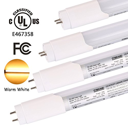 UL Listed 18W T8 LED Tube, 60W Fluorescent Tube Equivalent, Warm White 3000K, 2000lm, 4ft (1.2m, 120cm) LED Tube Lights, Single Ended Power, Milky White Cover, 4-Pack