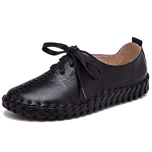 Shenn Caleçon Femmes Chaussures Formateurs Lacets Confort Maille Cuir Noir Décontractée rvr5anwq