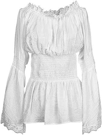 Candow Look Blanca de encaje de algod¨®n Mujeres Campesinas camisa blusa retro vintage dise?o Semi Sheer
