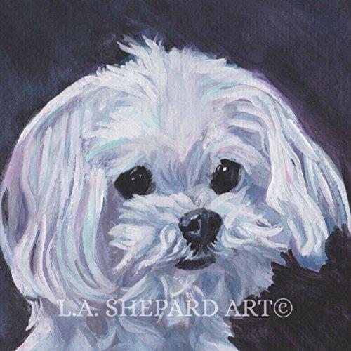 A Maltese dog art portrait print of an LA Shepard painting 8x8