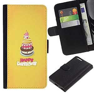 Billetera de Cuero Caso Titular de la tarjeta Carcasa Funda para Apple Iphone 6 PLUS 5.5 / Cake Happy Birthday Yellow Sweet / STRONG