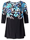 Chicwe Women's Plus Size Reglan Sleeves Floral Top - Casual and Work Tunic 2X