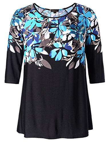Chicwe Women's Plus Size Raglan Sleeves Floral Top - Casual and Work Tunic 2X by Chicwe (Image #1)
