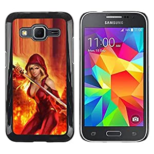 Paccase / SLIM PC / Aliminium Casa Carcasa Funda Case Cover para - sexy cleavage red fire sword hero woman - Samsung Galaxy Core Prime SM-G360