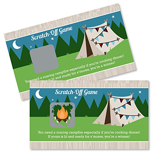 Big Dot of Happiness Happy Camper - Camping Baby Shower or Birthday Party Game Scratch Off Cards - 22 Count