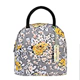 wonderful flower Insulated Lunch Box Cooler Bag lunch bag flower (G05GrayYellow)