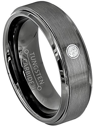 - Jewelry Avalanche 0.07ct Diamond Tungsten Carbide Ring - 6MM Brushed Gunmetal (Dark Gray) Comfort Fit Tungsten Wedding Band - 10.5