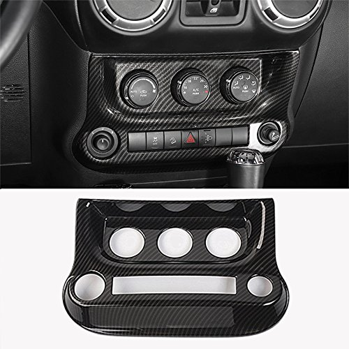 YOCTM Black Carbon Fiber Car Interior Air Conditioning Switch Cover Trim Frame Fit For Jeep Wrangler 2011-2017 ()