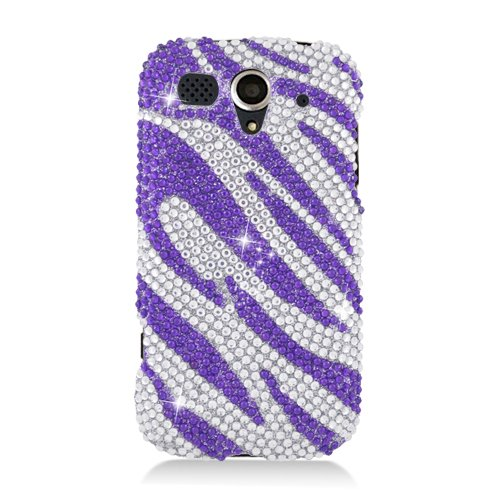 (Eagle Cell PDHWU8680S326 RingBling Brilliant Diamond Case for Huawei myTouch U8680 - Retail Packaging - Purple Zebra)