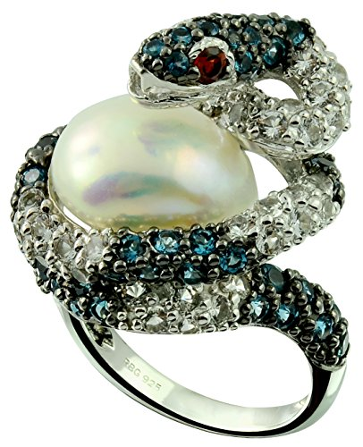 13.41 Cts Freshwater Cultured Pearl with London Blue Topaz Rhodium-Plated 925 Sterling Silver Snake Ring (9) by RB Gems