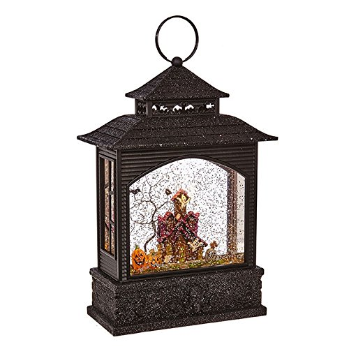 RAZ Imports 11 Inch Lighted Water Lantern Black Halloween Snow Globe with Continuous Swirling Glitter (Haunted House) by RAZ Imports