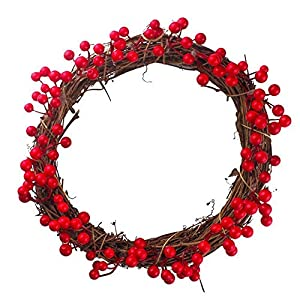 YJYDADA 30/35/40cm Red Berries Christmas Wreath Red Wreath Hanging Christmas Decoration 31
