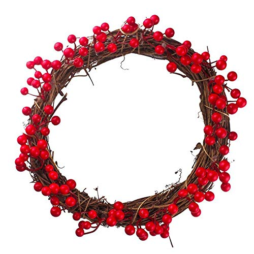 30/35/40cm Merry Christmas Wreath Decor, Vanvler 1 PC Door Wall Hanging Garland Decor Xmas Ornament Simulation Berries (30cm, Red)