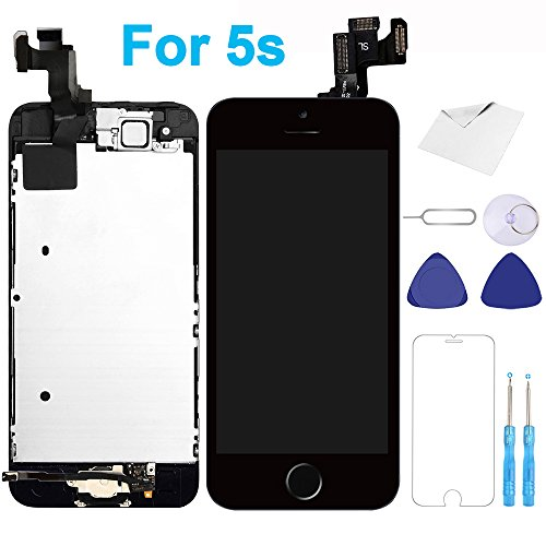 For iPhone 5s Screen Replacement Black - 4.0'' LCD Display Touch Digitizer Frame Assembly Full Repair Kit with Home Button Front Camera Proximity Sensor Ear Speaker Screen Protector Repair Tools by MasRepair