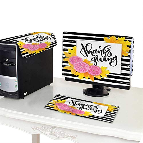 Pillow Bouquet Top (Miki Da Keyboard dust Cover Computer 24''MonitorSet Thanksgiving Day Greeting Lettering Phrase with Chrysanthemum Bouquet)