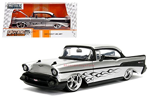 Kustom Metal - NEW DIECAST TOYS CAR JADA 1:24 WINDOW BOX - METALS - BIGTIME KUSTOMS - 1957 CHEVROLET BEL AIR SILVER WITH BLACK FLAME DESIGN AND BLACK TRIM 99966-MJ