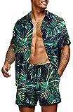 COOFANDY Men's Hawaiian Short Sleeve Shirt Aloha Print Casual Beach Shirts