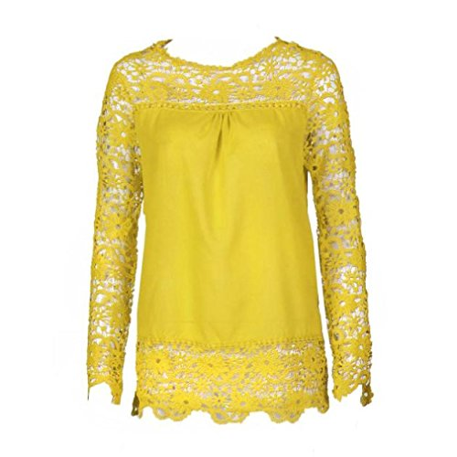 Women Plus Size Hollow Out Lace Splice Long Sleeve Shirt Casual Blouse Loose Top(Yellow,Small) by iQKA (Image #1)