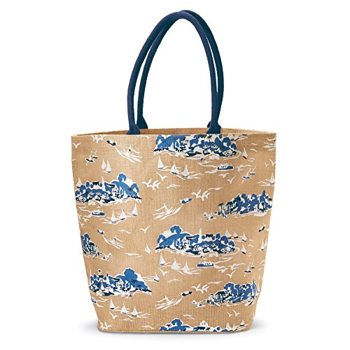 Mud Pie Womens Fashion Sailboat Toile Tote Bag (Natural)