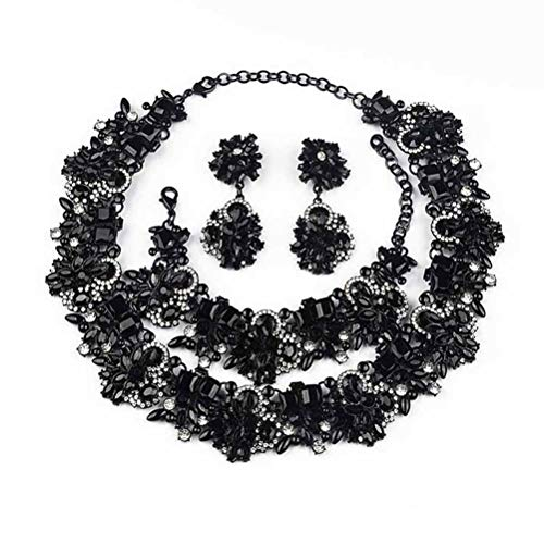 NABROJ Choker de Cristal Women Bib Necklace Bracelet Earrings Set Black, Choker Necklace for Women Costume Jewelry-HLN001 All Black 3pcs Set Black Rhinestone Jewelry Set