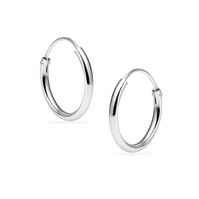 722be9462 Sterling Silver Endless Hoops 1.2mm x 12mm Thin Round Unisex Earrings Set  for Women &