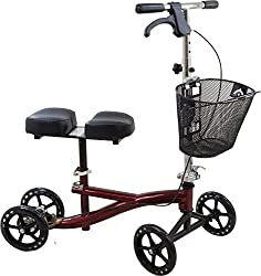 Roscoe Knee Scooter With Basket, Burgundy, Crutch Alternative For Foot Or Ankle Injuries, Adjustable Handlebar & Knee Platform Height